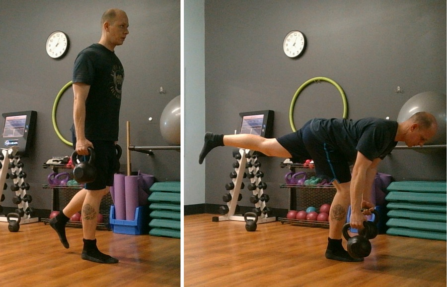 how to do the Two Arm Single Leg Kettlebell Deadlift https://www.getstrong.fit/The-Single-Leg-Kettlebell-Deadlift/Exercises