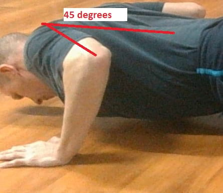 45 degree angel in arms for push-ups https://www.getstrong.fit/The-Push-Back-Push-Up-Exercise-Guide/Exercises