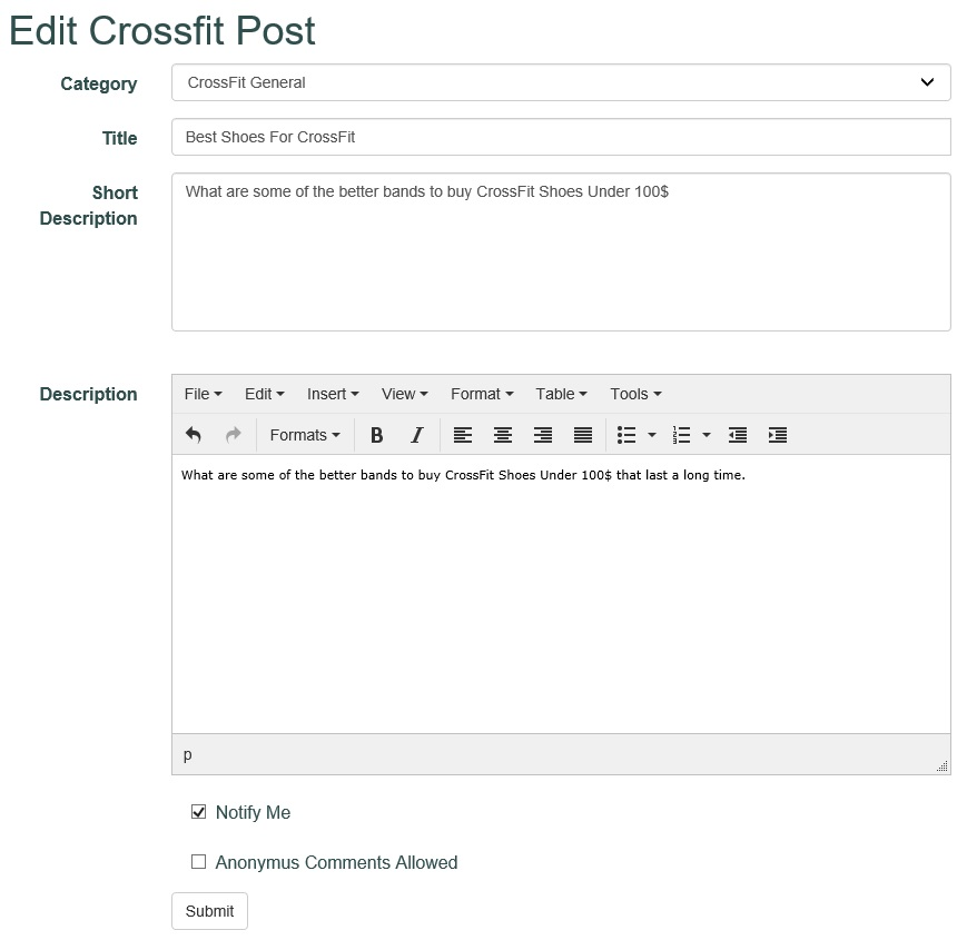 CrossFit edit screen for a question https://www.getstrong.fit