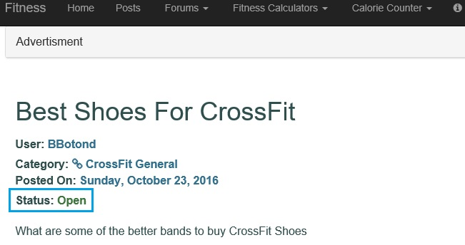 Screen shot showing a CrossFit question still open. https://www.getstrong.fit