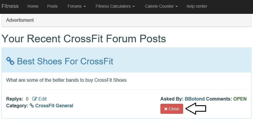 Screen shot of how to close your CrossFit Question https://www.getstrong.fit