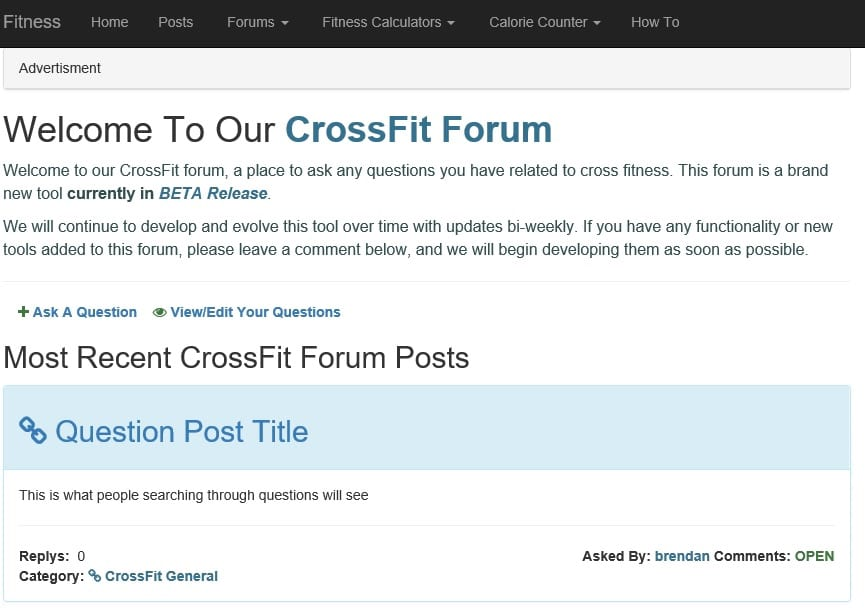 Screen shot list of forum posts order by most recently asked. https://www.getstrong.fit