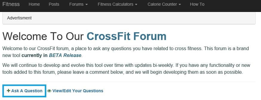 Screen shot of what the CrossFit Forum Add a post page link looks like. https://www.getstrong.fit