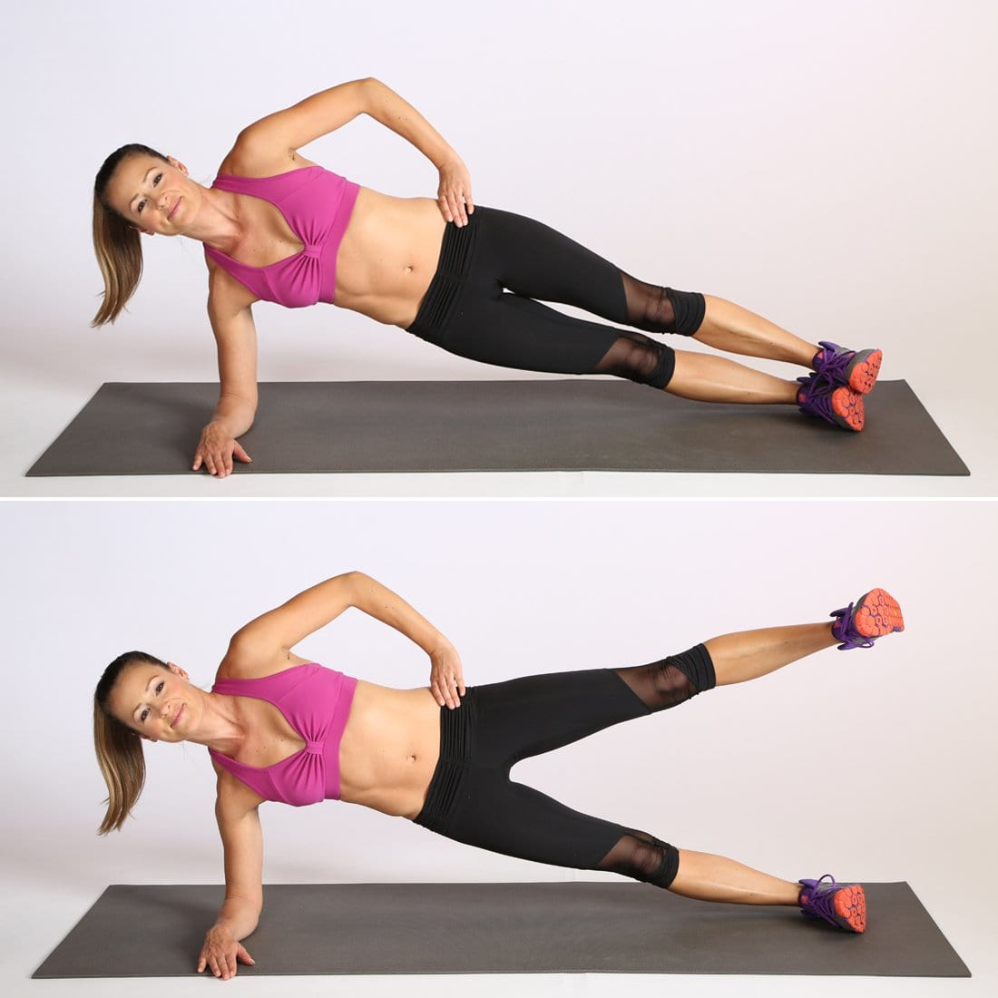 woman performing the side plank leg raise exercise