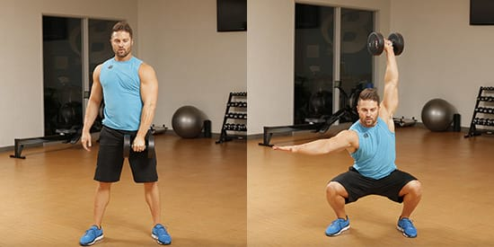 Man showing how to do the Dumbbell Squat Snatch https://www.getstrong.fit/Dumbbell-Squat-Snatch-Exercise-Guide/Exercises