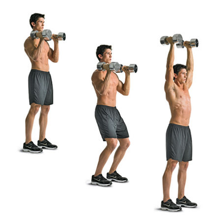 man showing how to do the dumbbell push jerk exercise https://www.getstrong.fit/Dumbbell-Push-Jerk-How-to-Exercise-Guide/Exercises