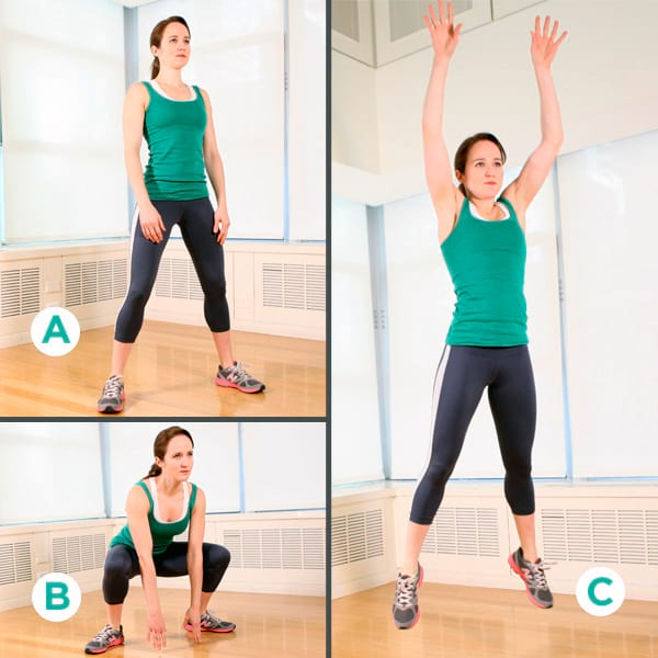 woman showing how to perform https://www.getstrong.fit/Frog-Jumps-How-To-Exercise-Guide/Exercises