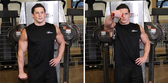 how to perform the Front Cable Raise exercise https://www.getstrong.fit/Front-Cable-Raise-How-To-Exercise-Guide/Exercises