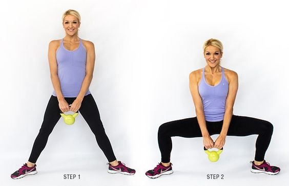 woman showing how to do the Pile Squat https://getstrong.fit/The-Pile-Squat/Exercises