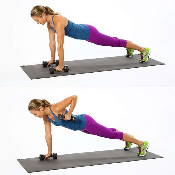 Woman showing how to perform the Plank Row Exercise https://www.getstrong.fit/Plank-Row-How-To-Exercise-Guide/Exercises