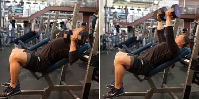 man performing the Incline Dumbbell Press Reverse Grip https://www.getstrong.fit/Reverse-Grip-Incline-Dumbbell-Press-How-To-Exercise-Guide/Exercises