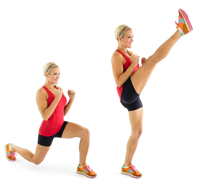 woman performing the lunge kick exercise https://www.GetStrong.fit