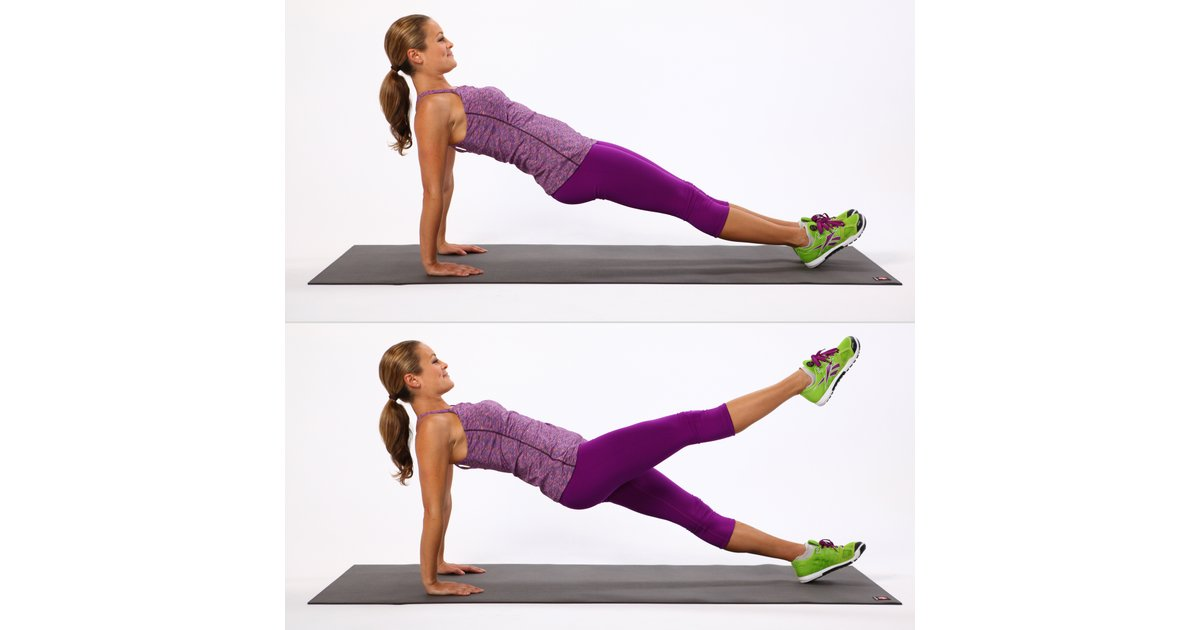 woman showing how to perform the reverse plank leg lift https://www.GetStrong.fit