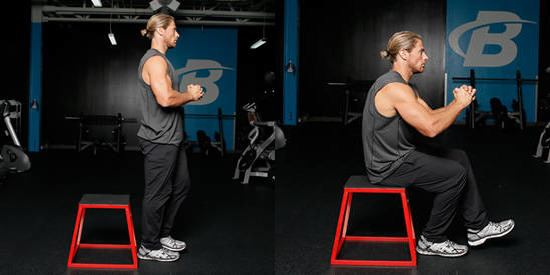 how to perform the single leg box squat https://www.GetStrong.fit/Single-Leg-Box-Squat-Image-and-Video-Exercise-Guide/Exercises