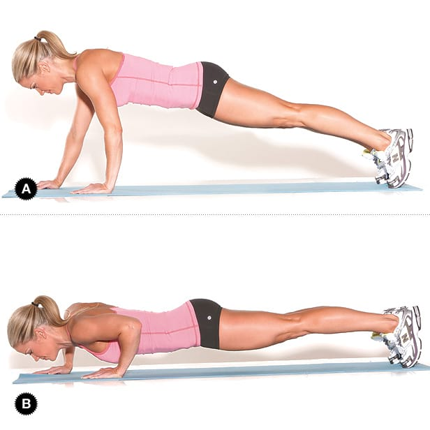 woman showing how to perform the staggerd push-up https://www.getstrong.fit/Staggered-Push-Up-How-To-Exercise-Guide/Exercises