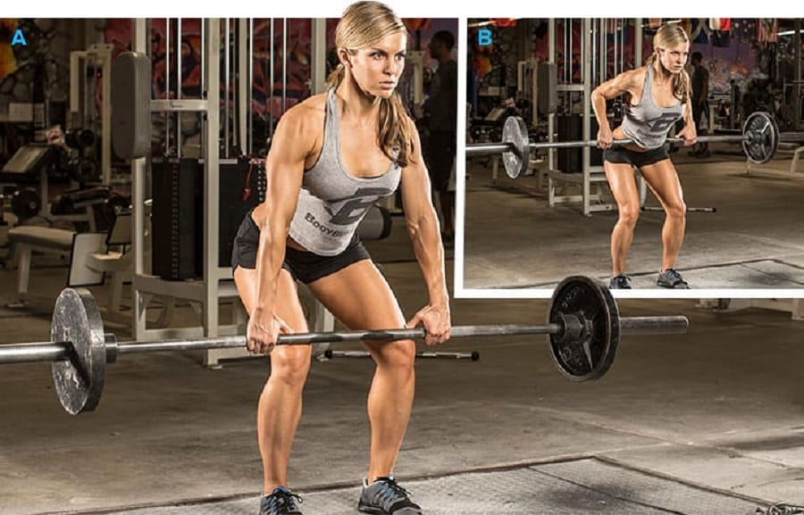 Woman performing / demenstarting a bent over barbell row
