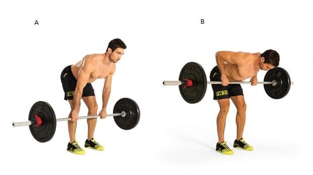 man showing how to perform the overhand barbell bent over row