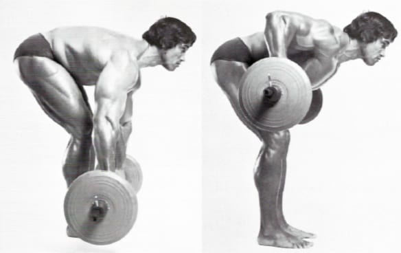 Arnold performing the overhand bent over row