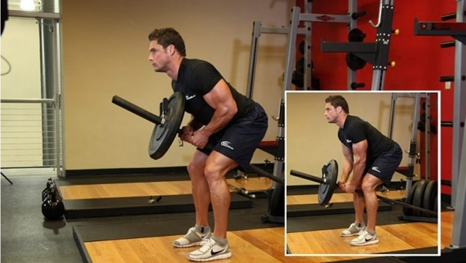 how to perform Bent Over Two-Arm Long Bar Row https://www.GetStrong.fit/Fitness