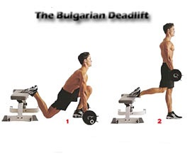 man showing how to perform the Bulgarian Deadlift