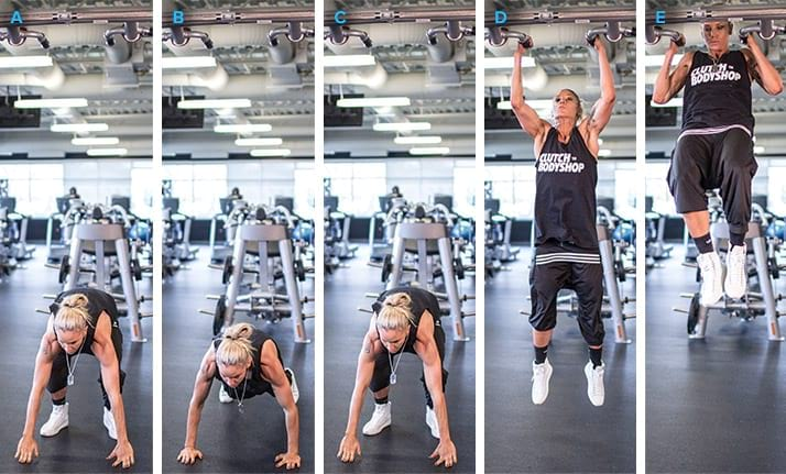 example how to do the Burpee Pull-up https://getstrong.fit/The-Burpee-Pull-Up/Exercises