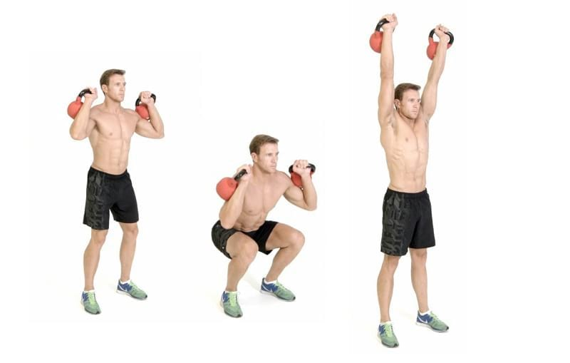 example how to perform the Kettlebell Thruster https://www.getstrong.fit/Kettlebell-Thruster-Exercise-Guide/Exercises
