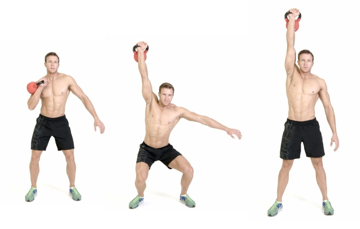 man demenstrating the different steps to a one-arm kettlebell Jerk https://www.GetStrong.fit/Fitness