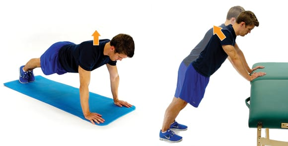 man performing the scap pushup