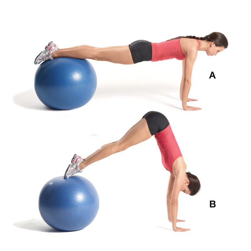 how to perform the stability ball pike exercise https://www.getstrong.fit/Swiss-Ball-Pike-How-To-Exercise-Guide/Exercises