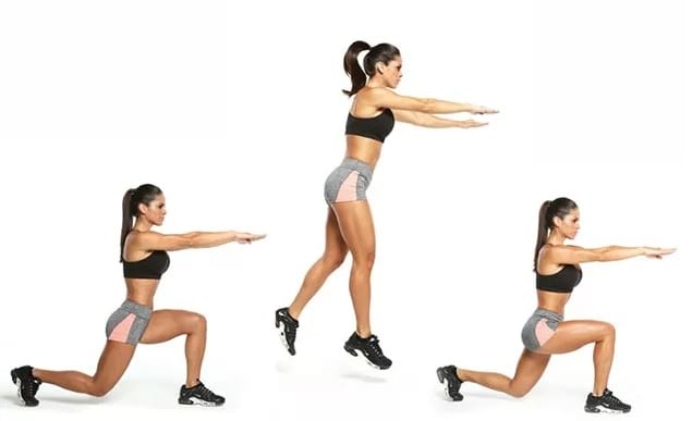 woman showing how to do the switch lunge